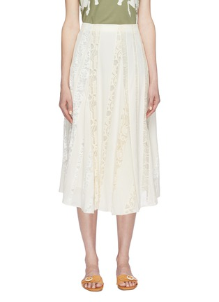 Main View - Click To Enlarge - Chloé - Logo lace insert silk chiffon skirt
