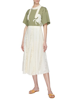 Figure View - Click To Enlarge - Chloé - Logo lace insert silk chiffon skirt
