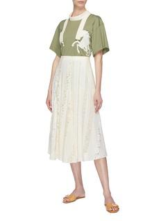Chloé Logo lace insert silk chiffon skirt