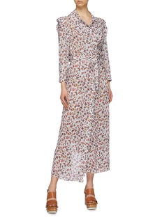 Chloé Belted scalloped edge floral print robe coat
