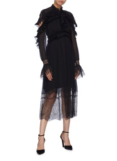 Jonathan Simkhai Lace panel ruffle drape back silk dress