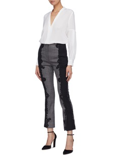 Jonathan Simkhai Contrast embroidered outseam wool houndstooth check pants
