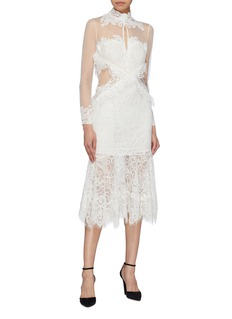 Jonathan Simkhai Mesh panel high neck Chantilly lace dress
