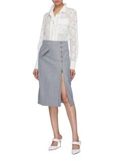 Jonathan Simkhai Hook-and-eye zip front pinstripe wrap skirt
