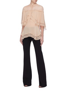 Jonathan Simkhai Lace panel layered ruffle silk blouse