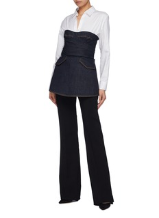 Jonathan Simkhai Denim mock wrap off-shoulder bustier top