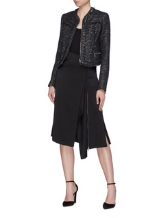 Jonathan Simkhai Rouleau loop button drape satin skirt