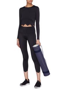 Beyond Yoga 'Cruz' lasercut scalloped cropped performance midi leggings