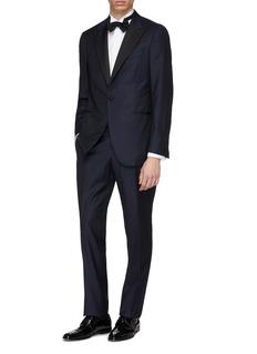 ISAIA Grosgrain peaked lapel Aquaspider wool twill tuxedo suit