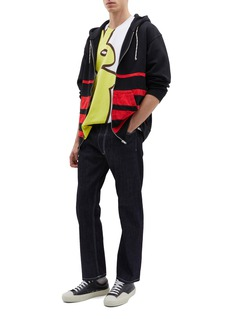 Marni 'Dance Bunny' appliqué colourblock stripe oversized zip hoodie