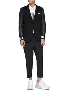 Neil Barrett Faux leather sleeve neoprene soft blazer