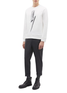 Neil Barrett Scribble thunderbolt embroidered sweatshirt