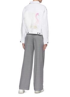 Forte Couture Fringed embroidered swan back denim jacket