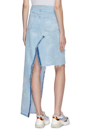 Back View - Click To Enlarge - Forte Couture - Asymmetric faux pearl button front denim skirt