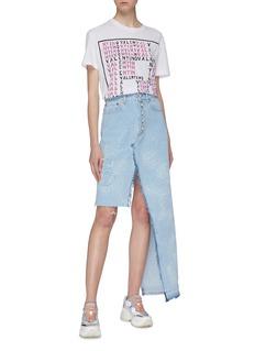 Forte Couture Asymmetric faux pearl button front denim skirt