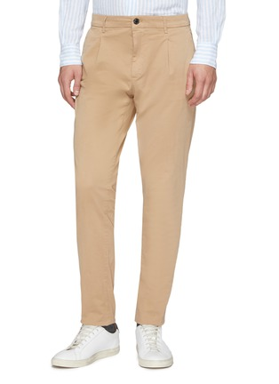 Front View - Click To Enlarge - ALTEA - Pleated slim fit gabardine chinos