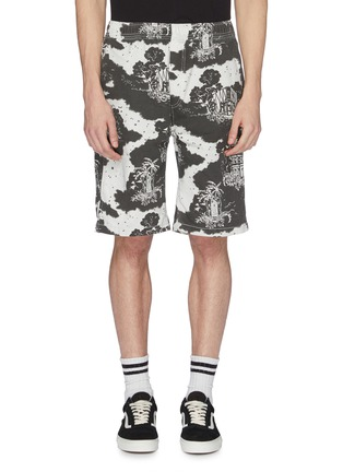 Main View - Click To Enlarge - Vyner Articles - Palm tree building print organic cotton twill shorts
