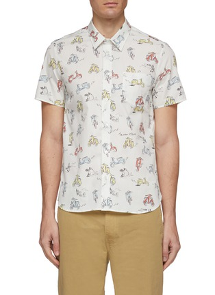 Main View - Click To Enlarge - MAISON KITSUNÉ - Scooter graphic print short sleeve shirt