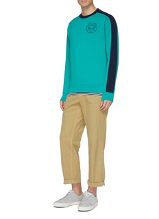 Maison Kitsuné Logo graphic print stripe sleeve sweatshirt