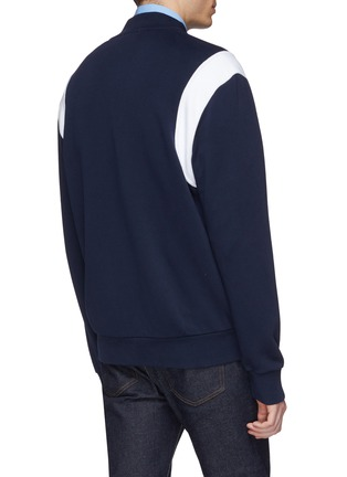 Back View - Click To Enlarge - Maison Kitsuné - Fox logo appliqué colourblock shoulder teddy jacket