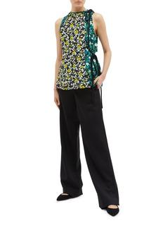 Proenza Schouler Tie side colourblock floral print georgette sleeveless top