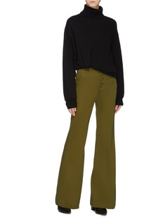 Proenza Schouler Belted button front flared twill pants
