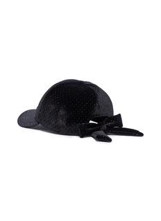 Maison Michel 'Tiger bow' strass velvet baseball cap