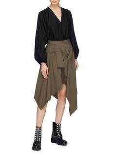 3.1 Phillip Lim Buckled ruched drape wool gabardine handkerchief skirt