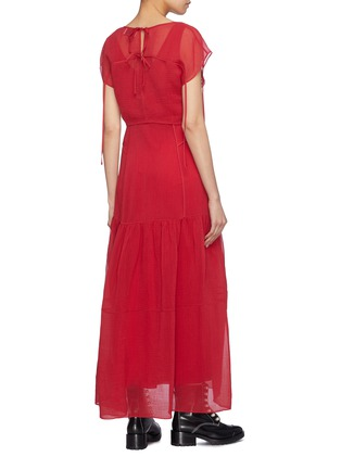 Back View - Click To Enlarge - 3.1 PHILLIP LIM - Cutout tie back overlay crinkled tiered dress
