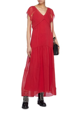 Figure View - Click To Enlarge - 3.1 PHILLIP LIM - Cutout tie back overlay crinkled tiered dress