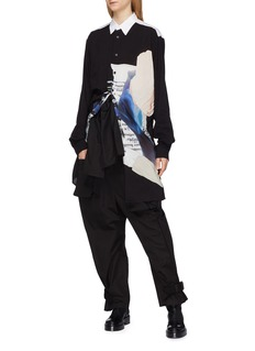 Yohji Yamamoto Contrast collar graphic print shirt