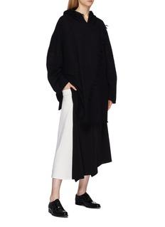 Yohji Yamamoto Contrast drape melton panel asymmetric skirt