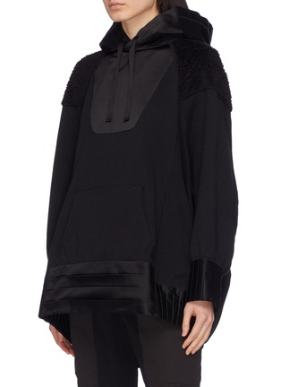 Front View - Click To Enlarge - UNDERCOVER - Pleated drape back panelled hoodie