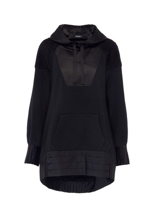 Main View - Click To Enlarge - UNDERCOVER - Pleated drape back panelled hoodie
