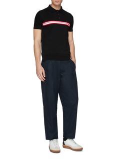 GCDS Logo stripe intarsia knit polo shirt