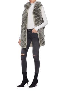 Gemmi Reversible fox fur collar long puffer gilet