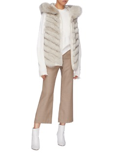 Gemmi Reversible fox fur hooded short puffer gilet