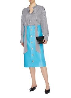 Balenciaga Snap button front leather midi skirt