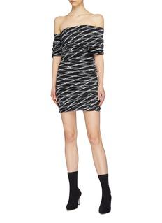 Balenciaga 'Monogram' logo print asymmetric ruched off-shoulder dress