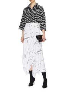 Balenciaga Asymmetric drape logo stripe print skirt