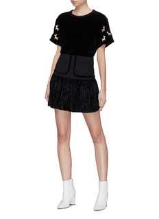 HELEN LEE Pleated velvet hem skirt