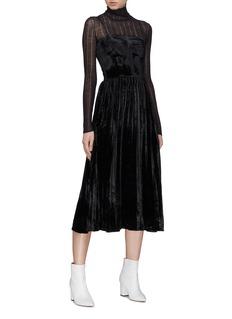 HELEN LEE Pleated velvet slip dress