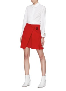 HELEN LEE Asymmetric belted pleated skirt