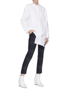 HELEN LEE 'Love Pet' slogan appliqué hem asymmetric shirt