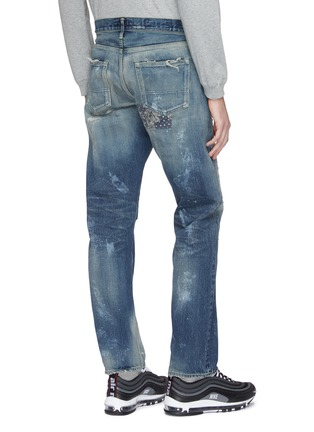 Back View - Click To Enlarge - FDMTL - Patchwork distressed slim fit jeans