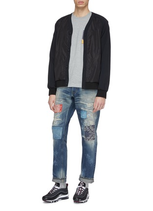 Figure View - Click To Enlarge - FDMTL - Patchwork distressed slim fit jeans