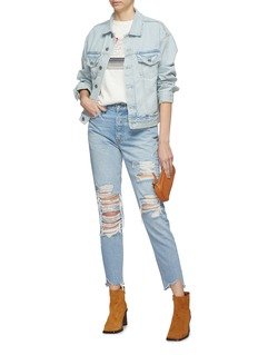 GRLFRND 'Karolina' ripped frayed cuff jeans