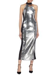 Galvan London Mesh stripe outseam sequin sleeveless dress