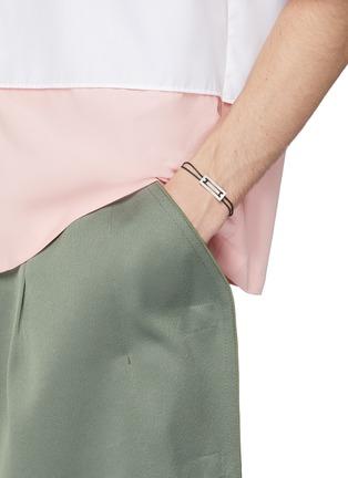 Figure View - Click To Enlarge - Le Gramme - 'Le 25/10g' silver charm cord bracelet