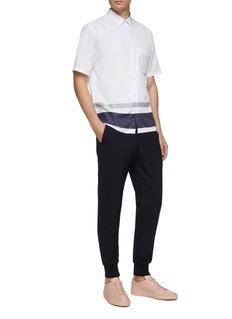 Theory 'Bruner' stripe hem short sleeve shirt